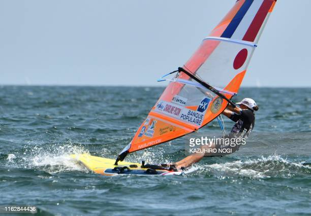 France's Charline Picon competes in the women's windsurfing RSX class competition during a sailing test event for the Tokyo 2020 Olympic Games off...