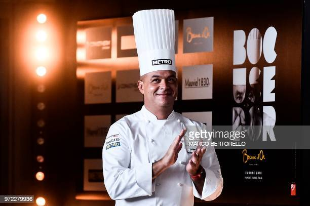France's chef Jerome Bocuse son of Paul Bocuse applauds during the event of the Bocuse d'Or Europe 2018 International culinary competition on June 12...