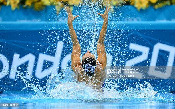 France's Chloe Willhelm and France's Sara Labrousse compete in the duets free routine preliminary round during the synchronised swimming competition...