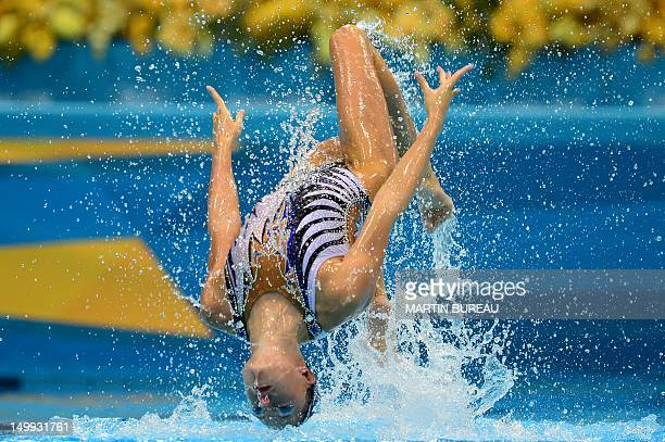 France's Chloe Willhelm and France's Sara Labrousse compete in the duets free routine final during the synchronised swimming competition at the...
