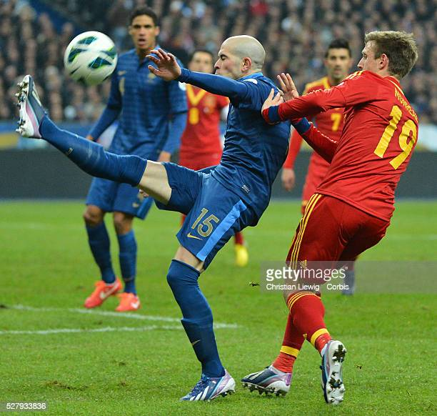 France's Christophe Jallet during the FIFA 2014 World Cup qualifying round group I soccer match, France Vs Spain at Stade de France in Saint-Denis...