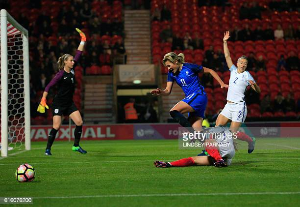 France's Claire Lavogez is stopped short of England's goal during the women's international friendly football match between England and France at the...