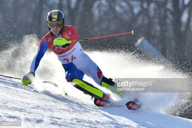 TOPSHOT France's Clement Noel competes in the Men's Slalom at the Yongpyong Alpine Centre during the Pyeongchang 2018 Winter Olympic Games in...