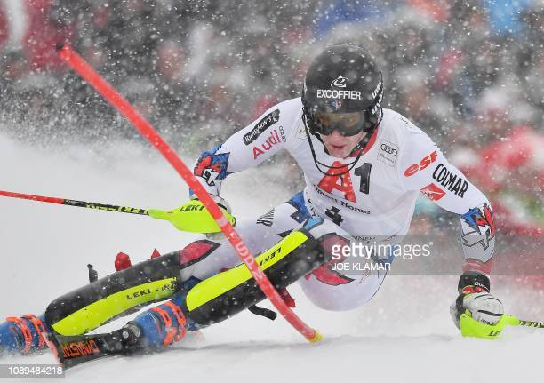 Frances Clement Noel competes in the men's Slalom event of the FIS Alpine Ski World Cup in Kitzbuehel, Austria, on January 26, 2019.