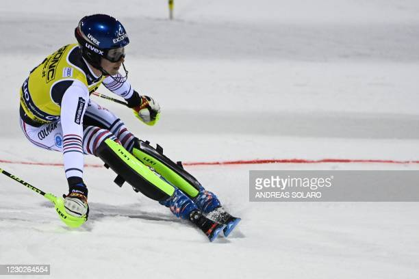 France's Clement Noel reacts as he crosses the finish line in the second run of the Men's Slalom race during the FIS Alpine ski World Cup on December...