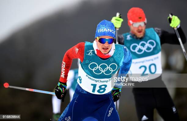 France's Clement Parisse competes in the men's 15km 15km crosscountry skiathlon at the Alpensia cross country ski centre during the Pyeongchang 2018...