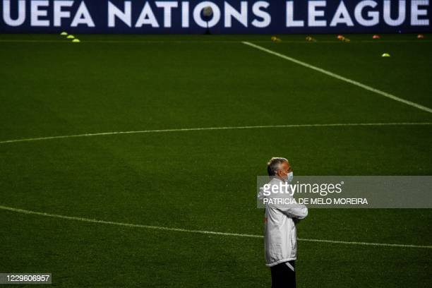 France's coach Didier Deschamps attends a training session at the Luz stadium in Lisbon on November 13, 2020 on the eve of the UEFA Nations League A...