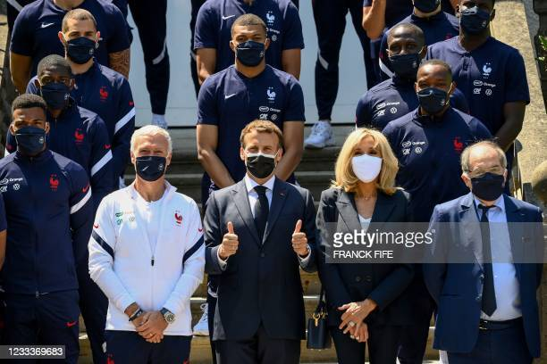France's coach Didier Deschamps , French President Emmanuel Macron , his wife Brigitte Macron and French Football Federation president Noel Le Graet...