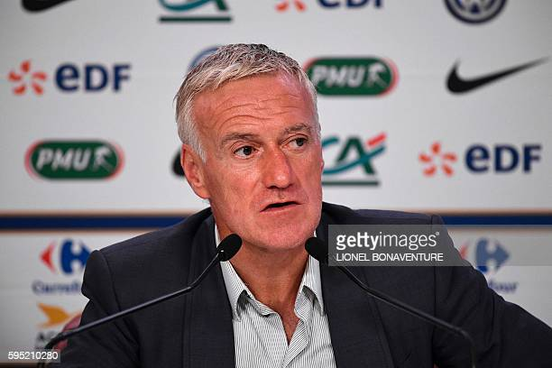 France's coach Didier Deschamps gives a press conference at the French Football Federation headquarters in Paris on August 25 regarding the future...