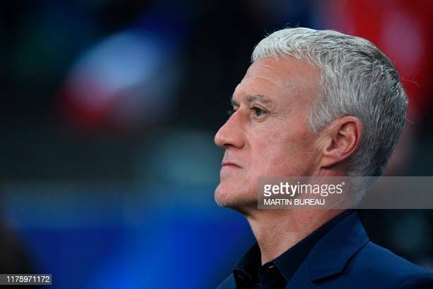 France's coach Didier Deschamps looks on before the Euro 2020 Group H qualification football match between France and Turkey at the Stade de France...
