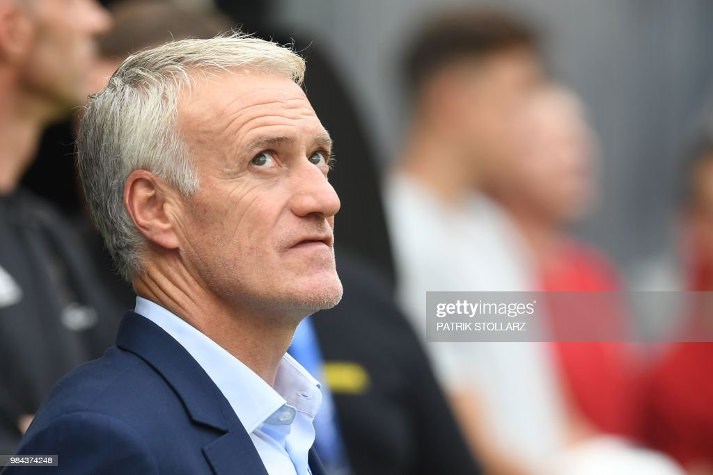 France's coach Didier Deschamps looks on before the Russia 2018 World Cup Group C football match between Denmark and France at the Luzhniki Stadium in Moscow on June 26, 2018. (Photo by Patrik STOLLARZ / AFP) / RESTRICTED