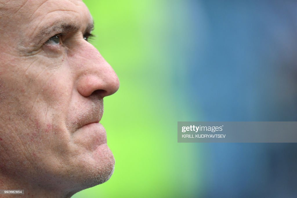 France's coach Didier Deschamps looks on before the Russia 2018 World Cup quarter-final football match between Uruguay and France at the Nizhny Novgorod Stadium in Nizhny Novgorod on July 6, 2018.