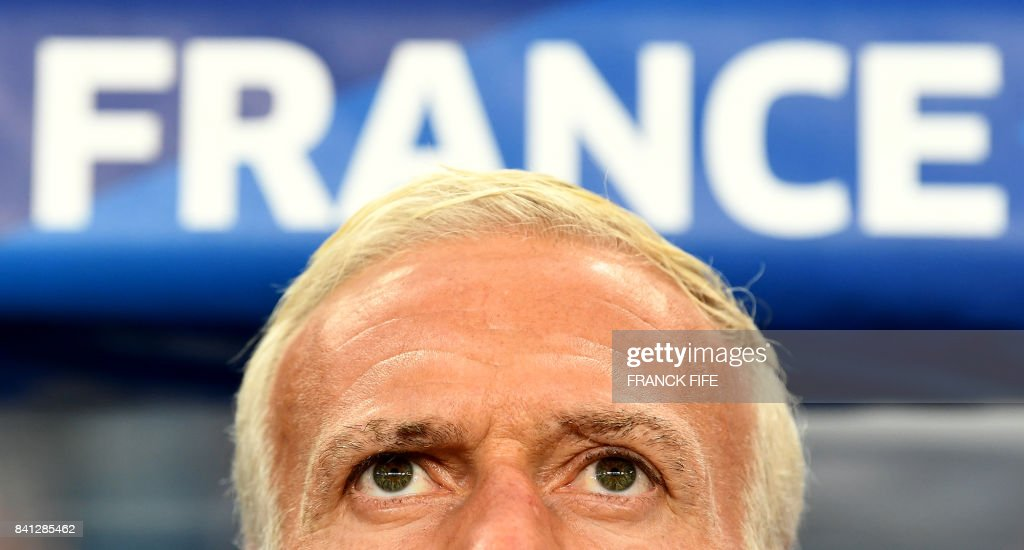 France's coach Didier Deschamps looks on prior to the 2018 FIFA World Cup qualifying football match France vs Netherlands at the Stade de France in Saint-Denis, north of Paris, on August 31, 2017.