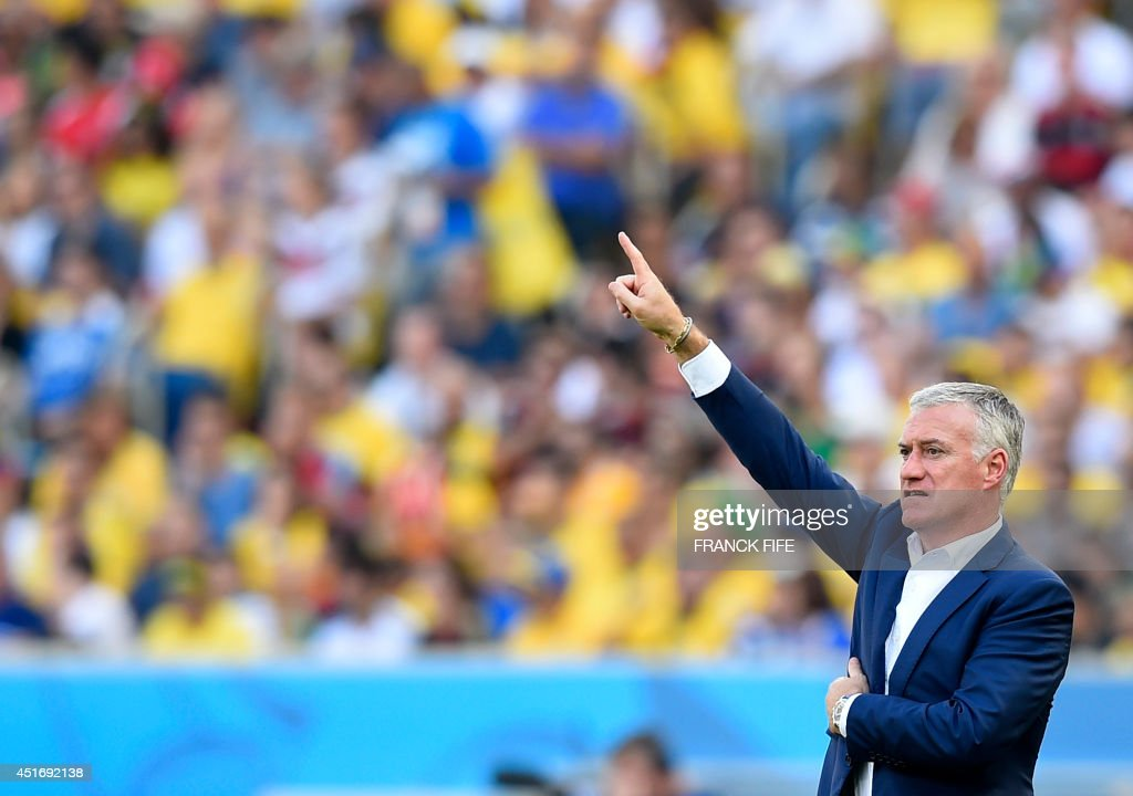 France's coach Didier Deschamps reacts during the quarter-final football match between France and Germany at the Maracana Stadium in Rio de Janeiro during the 2014 FIFA World Cup on July 4, 2014. AFP PHOTO / FRANCK FIFE / AFP PHOTO / Franck FIFE