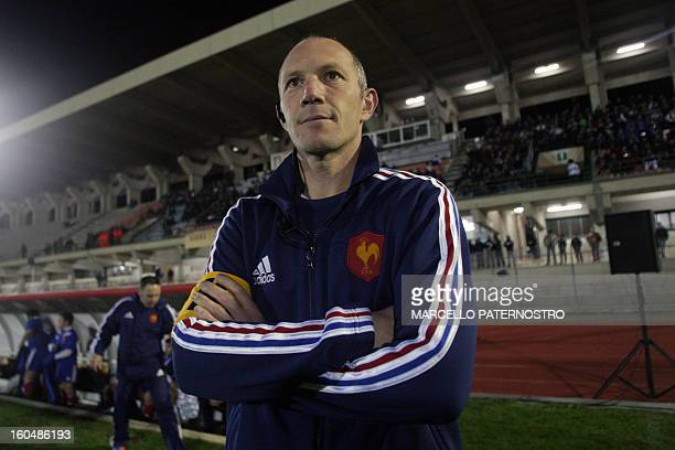 France's coach Gerald Bastide takes place for the 6 Nations Rugby Under 20 match against Italy at Tomaselli Stadium on February 1 2013 in...