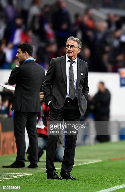 France's coach Guy Noves looks on before the friendly rugby test match between France and Samoa at the Stadium Municipal in Toulouse on November 12...
