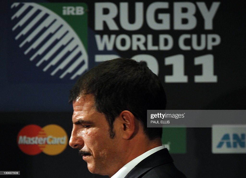 France's coach Marc Lievremont reacts during a press conference after the 2011 Rugby World Cup final match New Zealand vs France at Eden Park Stadium in Auckland on October 23, 2011.