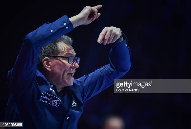 France's coach Olivier Krumbholz gestures during the Women Euro 2018 handball Championships Group 1 main round match between Serbia and France, at...