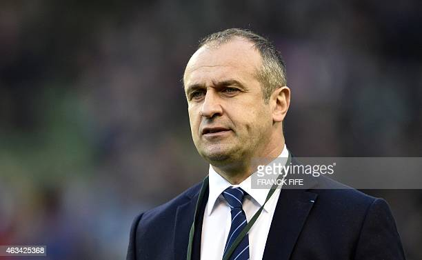 France's coach Philippe SaintAndre before kick off of the Six Nations international rugby union match between Ireland and France at Aviva Stadium in...