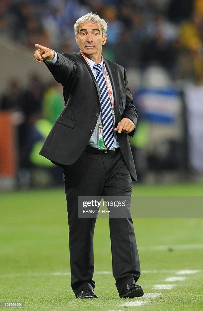 France's coach Raymond Domenech gestures to players during the Group A first round 2010 World Cup football match Uruguay vs. France on June 11, 2010 at Green Point stadium in Cape Town. NO
