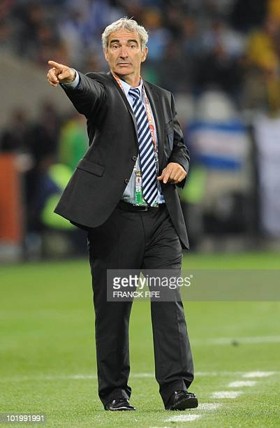 France's coach Raymond Domenech gestures to players during the Group A first round 2010 World Cup football match Uruguay vs. France on June 11, 2010...