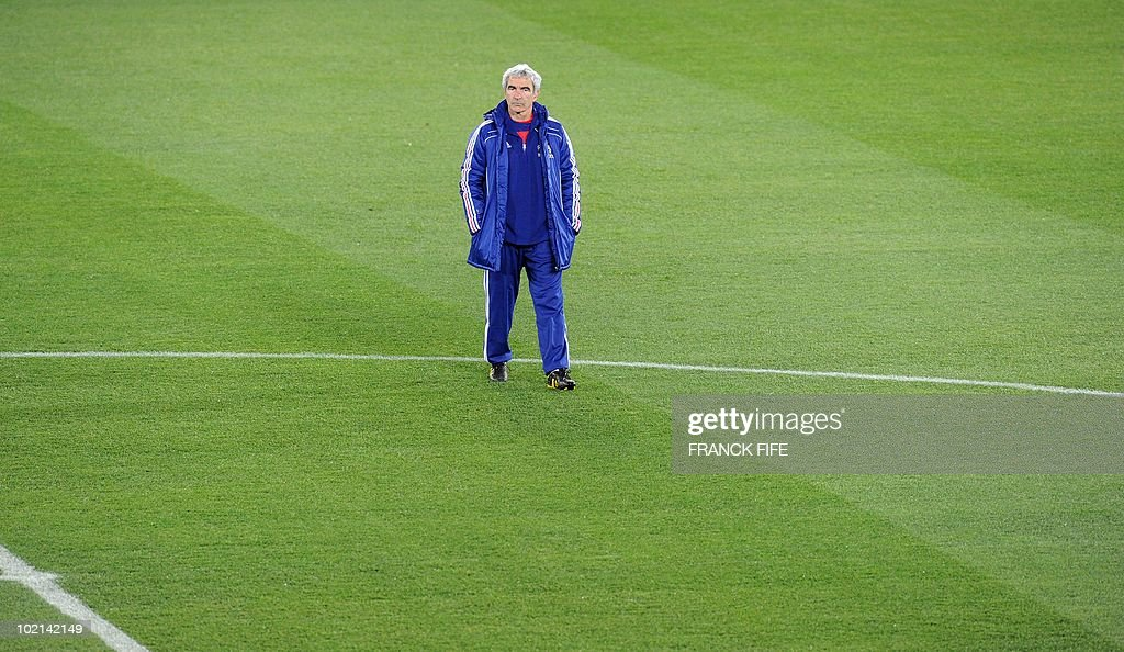 France's coach Raymond Domenech takes part in a training session at the Peter Mokaba stadium in Polokwane, on June 16, 2010. France will play against Mexico in their second first-round match of the 2010 Football World Cup on June 17.