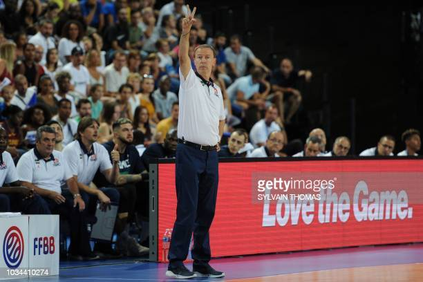 France's coach Vincent Collet reacts during the 2019 FIBA Basketball World Championship European qualifying group match between France and Finland at...