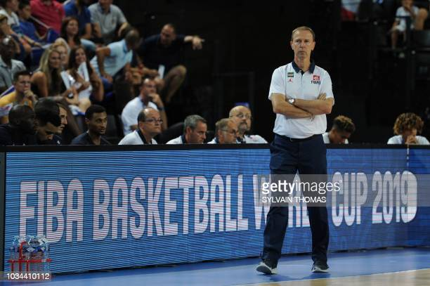 France's coach Vincent Collet stands during the 2019 FIBA Basketball World Championship European qualifying group match between France and Finland at...