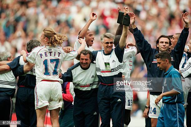 France's coaches Roger Lemerre and Aime Jacquet celebrate victory over Italy in the quarterfinals match of the 1998 FIFA World Cup | Location...