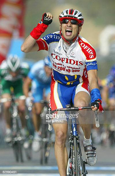 France's Cofidis cycling team's David Moncoutie crosses the finish line 05 April 2005, to win the second stage of the Tour of the Basque...