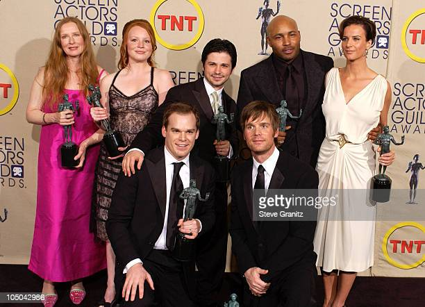 Frances Conroy Lauren Ambrose Freddy Rodriguez Mathew St Patrick Rachel Griffiths Michael C Hall and Peter Krause Winners of Outstanding Ensemble in...