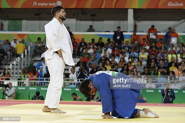 TOPSHOT France's Cyrille Maret competes with Georgia's Beka Gviniashvili during their men's 100kg judo contest quarterfinal match of the Rio 2016...
