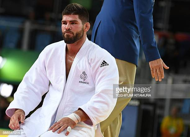 France's Cyrille Maret reacts after losing to Czech Republic's Lukas Krpalek during their men's 100kg judo contest semifinal B match of the Rio 2016...