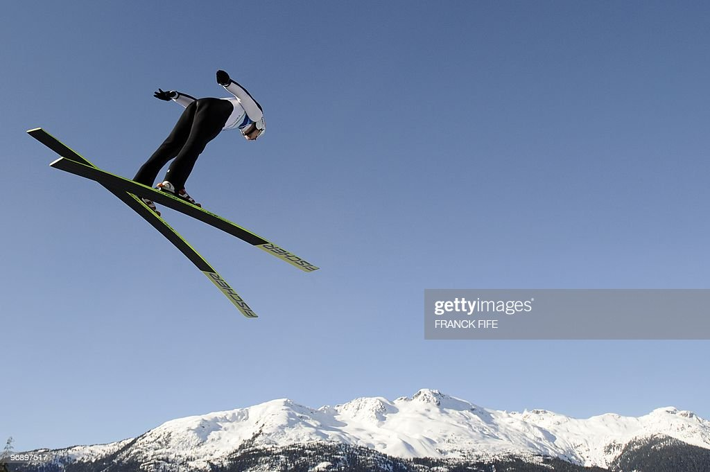 France's David Lazzaroni jumps in the Ski Jumping LH Individual trial at Whistler Olympic Park on February 20, 2010 during the Vancouver Winter Olympics.