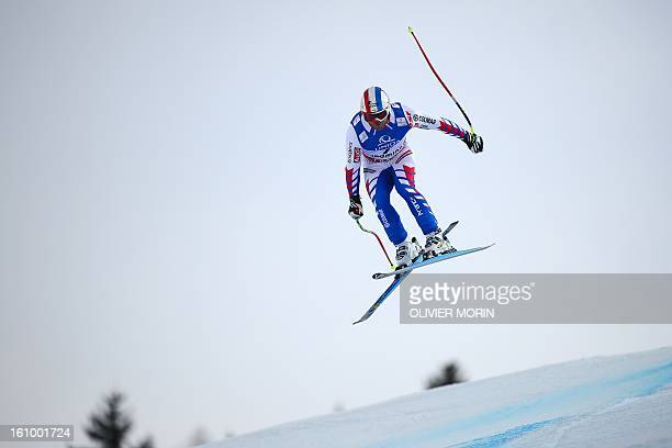 France's David Poisson competes during the men's downhill training of the 2013 Ski World Championships in Schladming Austria on February 8 2013 AFP...