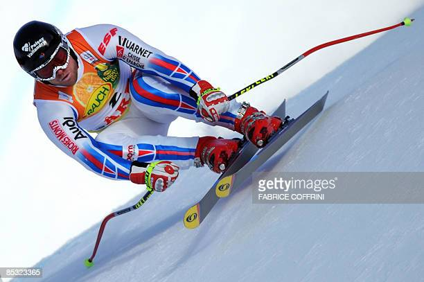 France's David Poisson competes during the men's downhill training on March 10 2009 at the Ski World Cup finals in Are AFP PHOTO / FABRICE COFFRINI