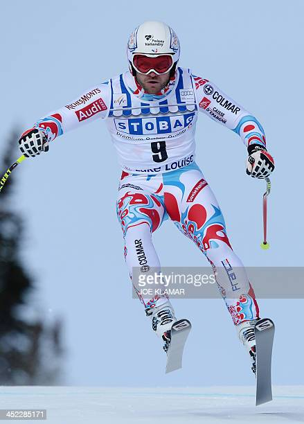 France's David Poisson competes in the men's downhill practice during the alpine skiing FIS World Cup in Lake Louise Canada on November 27 2013 AFP...