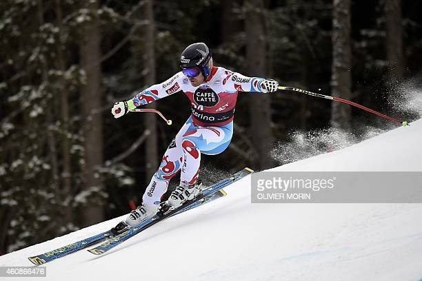 France's David Poisson competes in the Men's FIS Ski World Cup downhill event in Santa Caterina Italy on December 28 2014