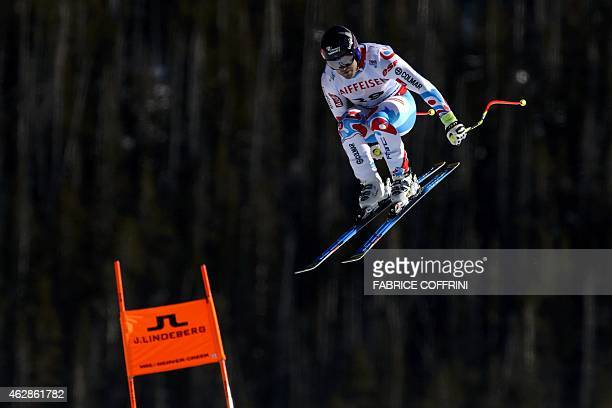 France's David Poisson jumps during the 2015 World Alpine Ski Championships men's Downhill training on February 6 2015 in Beaver Creek Colorado AFP...