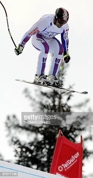 France's David Poisson jumps during the Men's Downhill at the Alpine skiing World Cup in Garmisch Partenkirchen southern Germany on March 2010 AFP...