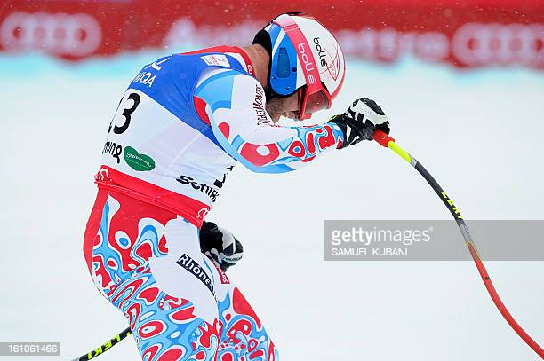 France's David Poisson reacts after competing during the men's downhill event of the 2013 Ski World Championshis in Schladming Austria on February 9...