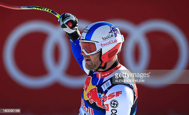 France's David Poisson reacts after competing in the FIS World Cup men's downhill race on January 26 2013 in Kitzbuehel Austrian Alps Poisson...