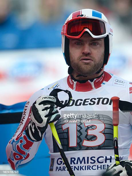 France's David Poisson reacts during the FIS World Cup men's downhill in GarmischPartenkirchen southern Germany on February 23 2013 AFP PHOTO /...