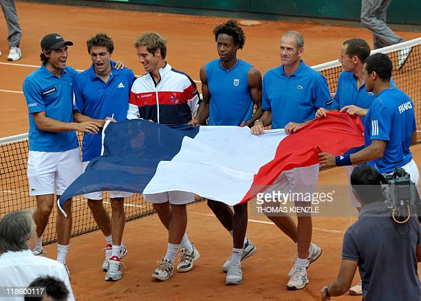 France's Davis Cup Team Jeremy Chardy Gilles Simon Richard Gasquet Gael Monfils team captain Guy Forget Michael Llodra and JoWilfried Tsonga...