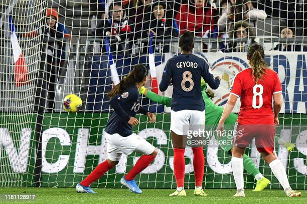 France's defender Amel Majri scores a goal during the UEFA women's Euro 2021 qualifying match between France and Serbia on November 9, 2019 at the...