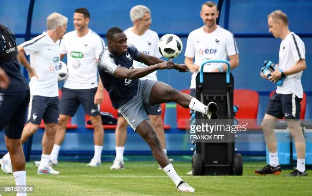 France's defender Benjamin Mendy kicks the ball during a friendly football match against a selection of 19-year-old players from Spartak Moscow at...