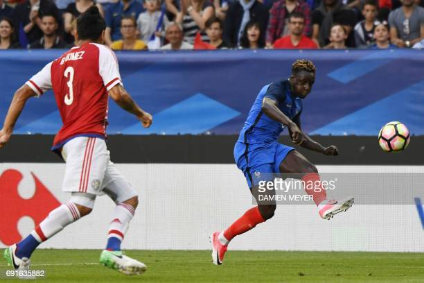 France's defender Benjamin Mendy kicks the ball during the friendly football match between France and Paraguay on June 2 2017 at the Roazhon park...