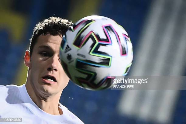 France's defender Benjamin Pavard eyes the ball during the FIFA World Cup Qatar 2022 qualification Group D football match between Bosnia-Herzegovina...