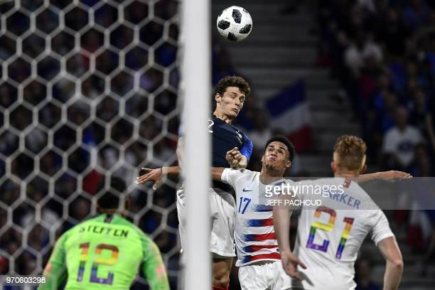 France's defender Benjamin Pavard vies with USA's defender Antonee Robinson during the friendly football match between France and USA at the at the...