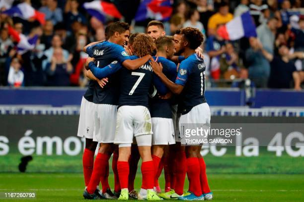 France's defender Clement Lenglet celebrates with team mates after he scored a goal during the UEFA Euro 2020 qualifying Group H football match...